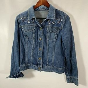 Liz Claiborne Jean Jacket Stretch Embellished